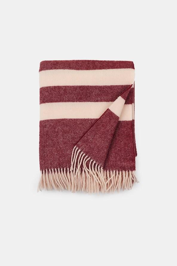 Luxusní vlněná deka Stripe vínová