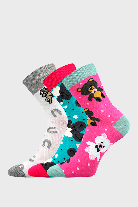 Fuski BOMA 3 Pack dívčích ponožek Happy barevná 35-38