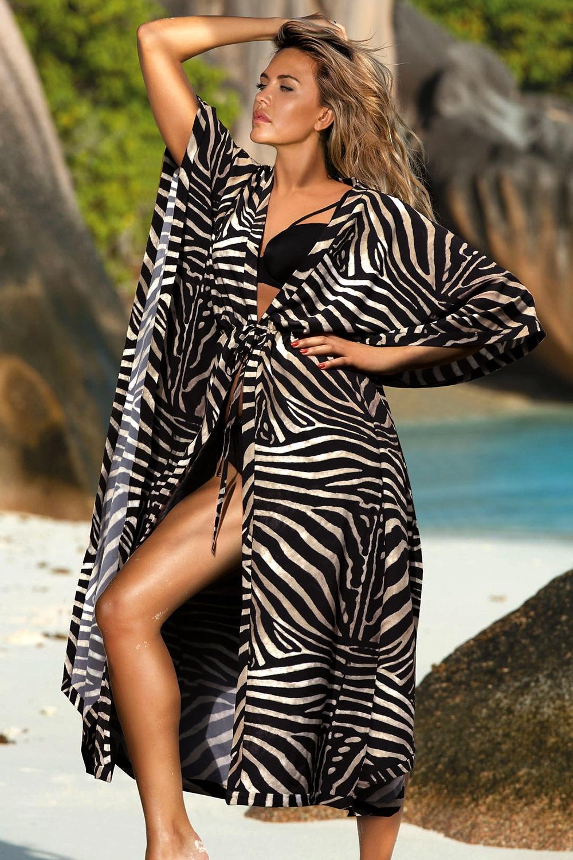 9dd8227e0 Dámské italské plážové šaty David Mare kolekce Peyote černobílá S