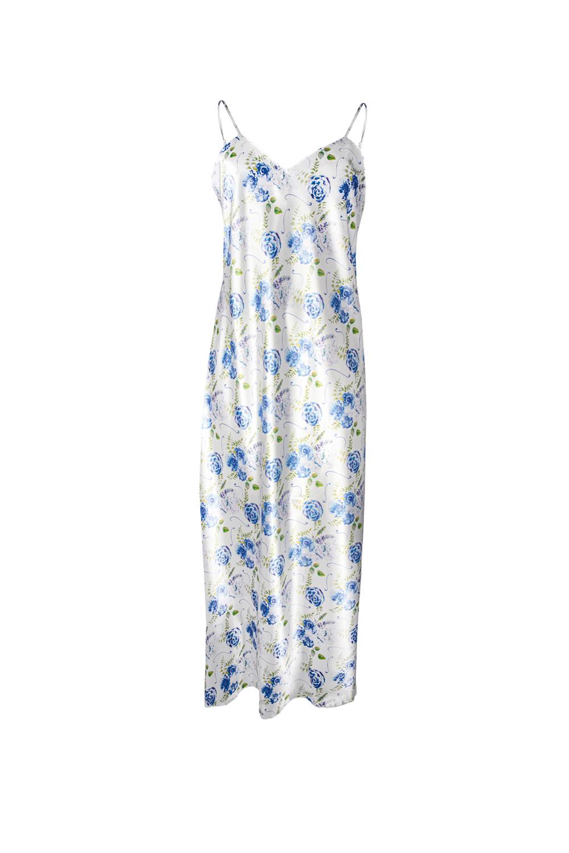 Saténová noční košilka Flowers modrá