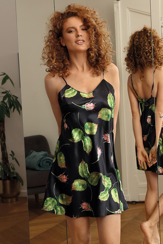 Krótka satynowa koszula nocna Flowers czarna